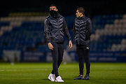 AFC Wimbledon players inspect the pitch before the EFL Sky Bet League 1 match between Gillingham and AFC Wimbledon at the MEMS Priestfield Stadium, Gillingham, England on 24 November 2020.