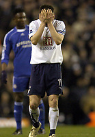 Photo: Olly Greenwood.<br />Tottenham Hotspur v Chelsea. The FA Cup, Quarter Final replay. 19/03/2007. Tottenham's Robbie Keane can't bear to look