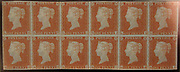"""Unused block of twelve """"Penny Red-Brown"""" postage stamps of Queen Victoria<br /> issued February 10, 1841 After a design by William Wyon British"""