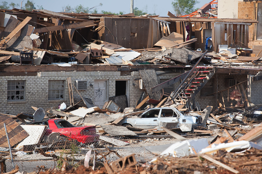 Destoryed housing project in Tuscaloosa Alabama after being hit by a tornado  . Tuscaloosa was hit by  F-4 and  possibly  F-5 tornados that were part of a storm  of an estimated 300 that struck Alabama and the neighboring states on April 27th , 2011.