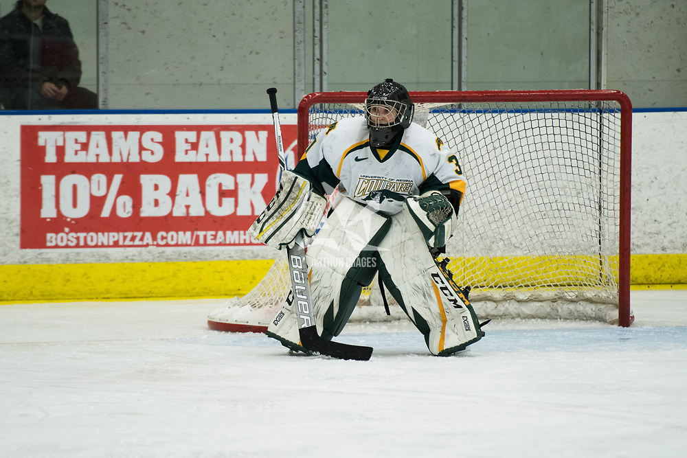 3rd year goalie Jane Kish (31) of the Regina Cougars in action during the Women's Hockey home game on October 13 at Co-operators arena. Credit: Arthur Ward/Arthur Images