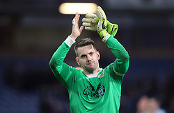 Burnley goalkeeper Thomas Heaton celebrates after the final whistle during the Premier League match at Turf Moor, Burnley.