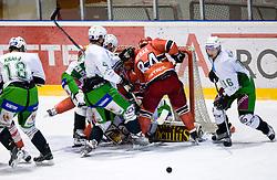 Todd Elik, Andrej Hebar of Jesenice at EBEL ice hockey match between HK Acroni Jesenice and HDD Tilia Olimpija Ljubljana, on December 4, 2009, in Arena Podmezaklja, Jesenice, Slovenia.  (Photo by Vid Ponikvar / Sportida)