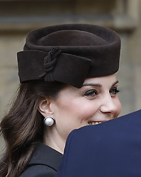 The Duchess of Cambridge arrives for the Easter Mattins Service at St George's Chapel, Windsor Castle, Windsor.