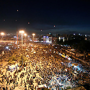 Ariel view of Taksim Square from the Ataturk Cultural Center (AKM). Protests in Istanbul, Turkey continue into the night. Protests began as a fight to save Gezi Park in central Istanbul. Photo by AYKUT AKICI/TURKPIX