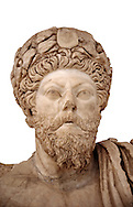 Roman sculpture of the Emperor Marcus Aurelius, excavated from Bulla Regia Theatre, sculpted circa late second century. The Bardo National Museum, Tunis.  Against a white background. .<br /> <br /> If you prefer to buy from our ALAMY STOCK LIBRARY page at https://www.alamy.com/portfolio/paul-williams-funkystock/greco-roman-sculptures.html . Type -    BARDO    - into LOWER SEARCH WITHIN GALLERY box - Refine search by adding a subject, place, background colour, museum etc.<br /> <br /> Visit our CLASSICAL WORLD HISTORIC SITES PHOTO COLLECTIONS for more photos to download or buy as wall art prints https://funkystock.photoshelter.com/gallery-collection/The-Romans-Art-Artefacts-Antiquities-Historic-Sites-Pictures-Images/C0000r2uLJJo9_s0c