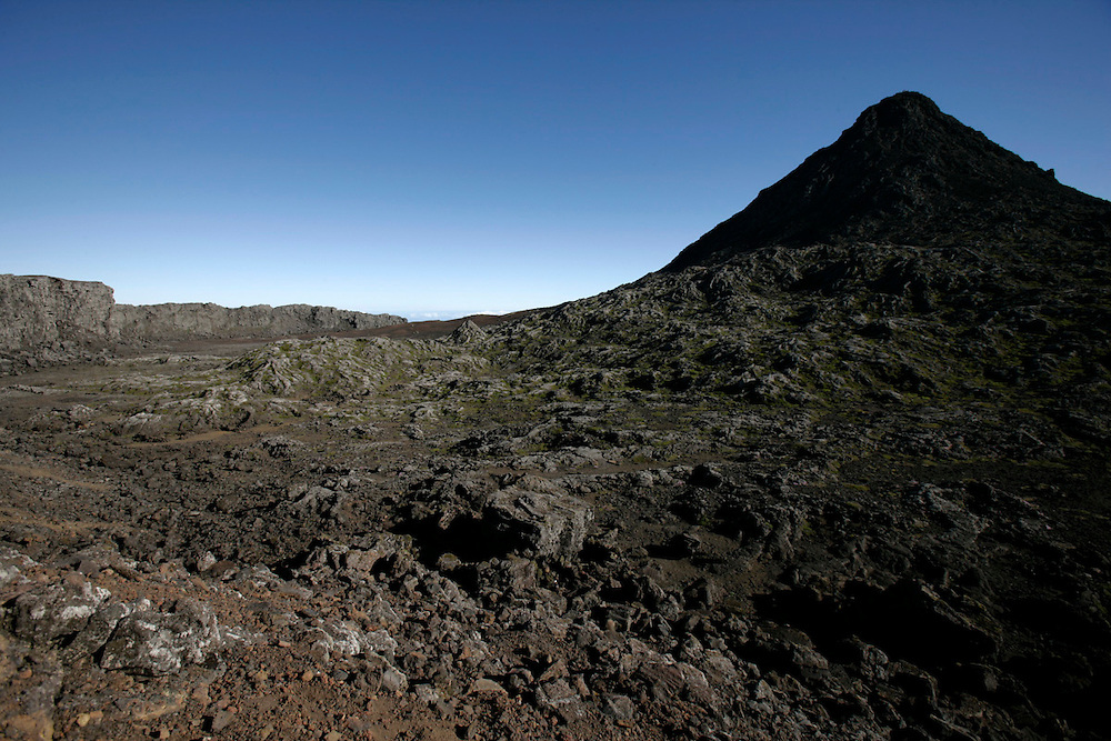 Pico's mountain summit seen from the crater of the dormant volcano. Pico mountain is the highest portuguese point with 2351m.