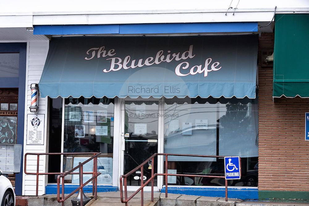Exterior of the historic Bluebird Cafe music venue in Nashville, TN.