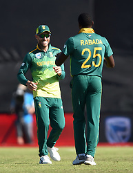 Cape Town-181006-South African captain Faf du Plessie celebrates Kagiso Rabada's second weeket against  Zimbabwean,as he bowled out Sean Williams  in the 3rd ODI match at Boland Park cricket stadium. .Photographer:Phando Jikelo/African News Agency(ANA)