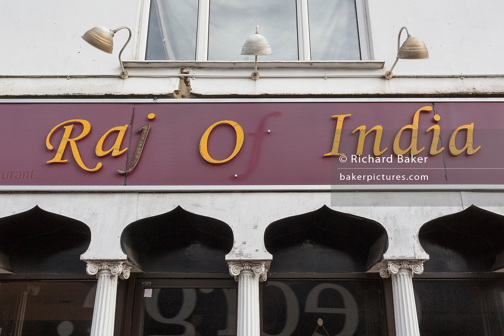 With the missing letter 'f', an exterior of the 'Raj of India', Indian restaurant, on 3rd February 2020, in Swanley, London, England