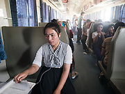 A student pauses. Life inside the train - mostly Muslim Uighur people  ride this train.