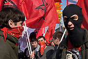 Moscow, Russia, 01/05/2005..Demonstrators from a wide range of political groups take to the streets on the traditional Russian Mayday holiday to protest against President Vladimir Putin and the Russian government..