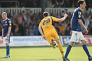 Kevin Feely of Newport celebrates scoring his side's second goal. Skybet football league two match, Newport county v Rochdale at Rodney Parade in Newport, South Wales on Saturday 3rd May 2014.<br /> pic by Mark Hawkins, Andrew Orchard sports photography.
