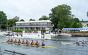 Henley-On-Thames, Berkshire, UK., Friday, 13.08.21,  Heat of the Island Challenge Cup, passing the Progress Board, and, Phyllis Court Club Grandstand, Berks Station University of London 'B', with a small lead over, Newcastle University 'A', competing at the, 2021 Henley Royal Regatta, River Thames, Henley Reach, Thames Valley, [Mandatory Credit © Peter Spurrier/Intersport Images],