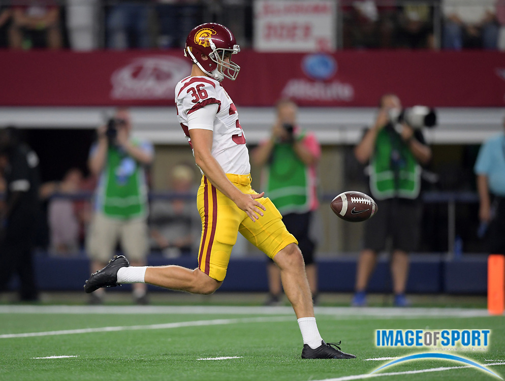 Sep 3, 2016; Arlington, TX, USA; USC Trojans punter Chris Tilbey (36) punts the ball against the Alabama Crimson Tide during a NCAA football game at AT&T Stadium. Alabama defeated USC 52-6.