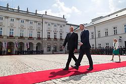 June 27, 2017 - Warsaw, Poland - President of Azerbaijan Ilham Aliyev (L) and President of Poland Andrzej Duda (R) at Presidential Palace in Warsaw, Poland on 27 June 2017  (Credit Image: © Mateusz Wlodarczyk/NurPhoto via ZUMA Press)