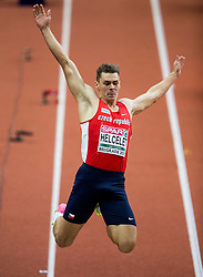 Adam Sebastian Helcelet of Czech Republic competes in the Heptathlon Long Jump Men on day two of the 2017 European Athletics Indoor Championships at the Kombank Arena on March 4, 2017 in Belgrade, Serbia. Photo by Vid Ponikvar / Sportida