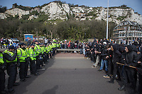@Licensed to London News Pictures 02/04/2016. Dover, Kent. Pro and anti-refugee demonstrators descend upon the streets of Dover today accompanied by a heavy police presence. Photo credit: Manu Palomeque/LNP
