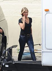 """EXCLUSIVE: Actress Jennifer Aniston is all smiles as she was spotted filming """"Murder Mystery"""" in downtown Los Angeles. 19 Mar 2019 Pictured: Jennifer Aniston. Photo credit: Pikachu / MEGA TheMegaAgency.com +1 888 505 6342"""