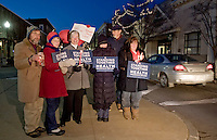 """Supporters """"stand together"""" for health care  insurance reform during a candlelight vigil held at the corner of Pleasant and Main Street in Laconia, NH."""
