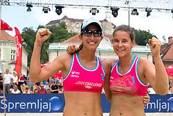 Pauline Alves of Brasil and Susanne Kreuzriegler of Austria at Beach Volleyball Challenge Ljubljana 2014, on August 2, 2014 in Kongresni trg, Ljubljana, Slovenia. Photo by Matic Klansek Velej / Sportida.com