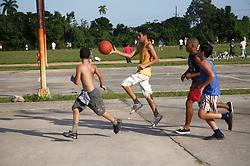 Boys playing basketball at Pinar del Rio; Cuba,