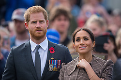 The Duke and Duchess of Sussex view the newly unveiled UK war memorial and visit Pukeahu National War Memorial Park, in Wellington, on day one of the royal couple's tour of New Zealand.