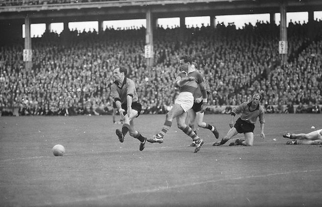 Down player brave block, ball during the All Ireland Senior Gaelic Football Final Kerry v Down in Croke Park on the 22nd September 1968. Down 2-12 Kerry 1-13.