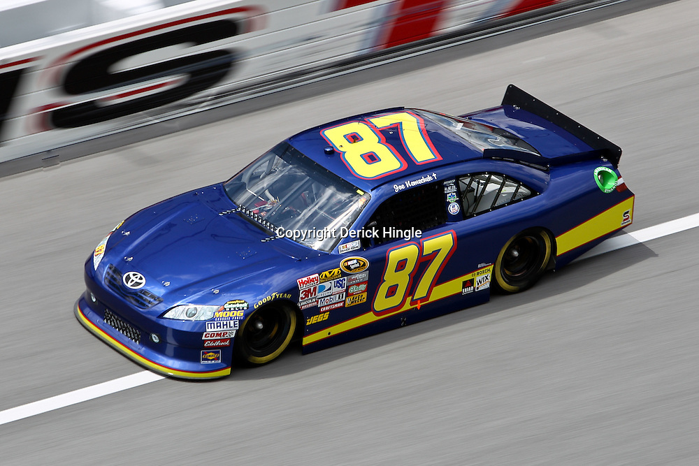 April 16, 2011; Talladega, AL, USA; NASCAR Sprint Cup Series driver Joe Nemecheck (87) during qualifying for the Aarons 499 at Talladega Superspeedway.   Mandatory Credit: Derick E. Hingle