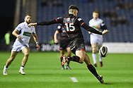 Blair Kinghorn kicks for touch during the Guinness Pro 14 2017_18 match between Edinburgh Rugby and Glasgow Warriors at Murrayfield, Edinburgh, Scotland on 23 December 2017. Photo by Kevin Murray.