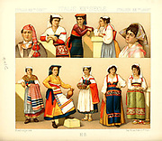 Ancient Italian fashion and lifestyle, 18th century from Geschichte des kostums in chronologischer entwicklung (History of the costume in chronological development) by Racinet, A. (Auguste), 1825-1893. and Rosenberg, Adolf, 1850-1906, Volume 5 printed in Berlin in 1888