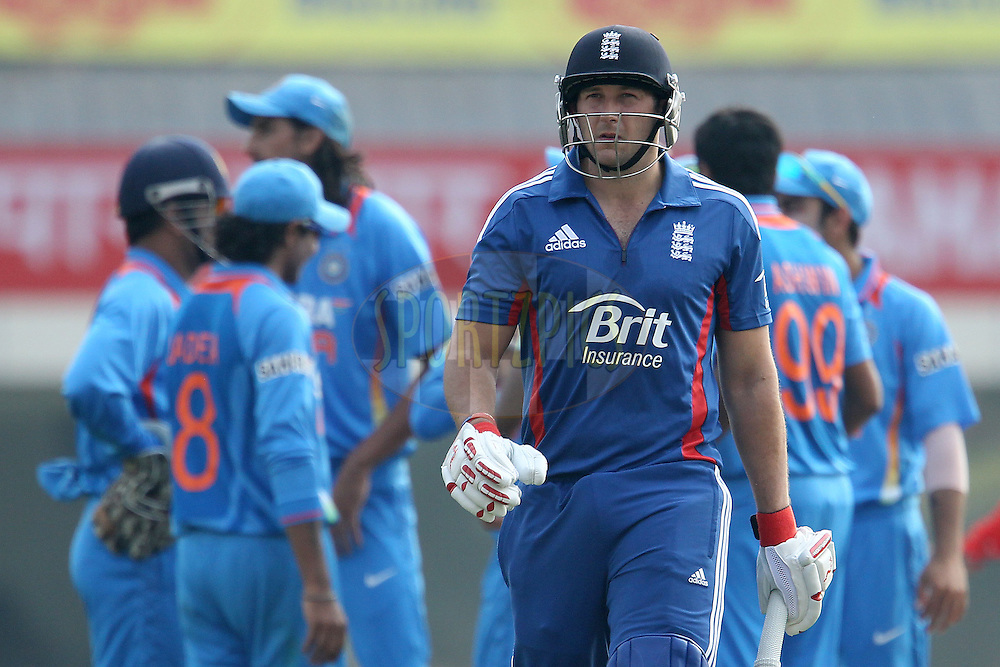 India celebrate the wicket of Tim Bresnan of England as he departs during the 3rd Airtel ODI Match between India and England held at the JSCA International Stadium Complex, Ranchi, India on the 19th January 2013..Photo by Ron Gaunt/BCCI/SPORTZPICS ..Use of this image is subject to the terms and conditions as outlined by the BCCI. These terms can be found by following this link:..http://www.sportzpics.co.za/image/I0000SoRagM2cIEc