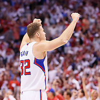 11 May 2014: Los Angeles Clippers forward Blake Griffin (32) celebrates during the Los Angeles Clippers 101-99 victory over the Oklahoma City Thunder, during Game Four of the Western Conference Semifinals of the NBA Playoffs, at the Staples Center, Los Angeles, California, USA.