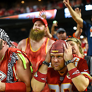 Kansas City Chiefs fans were stunned at the fumble by Kansas City Chiefs running back Jamaal Charles and return for a touchdown by the Denver Broncos to win, 31-24, in the final seconds of the game on Thursday, September 17, 2015 at Arrowhead Stadium in Kansas City, Mo.