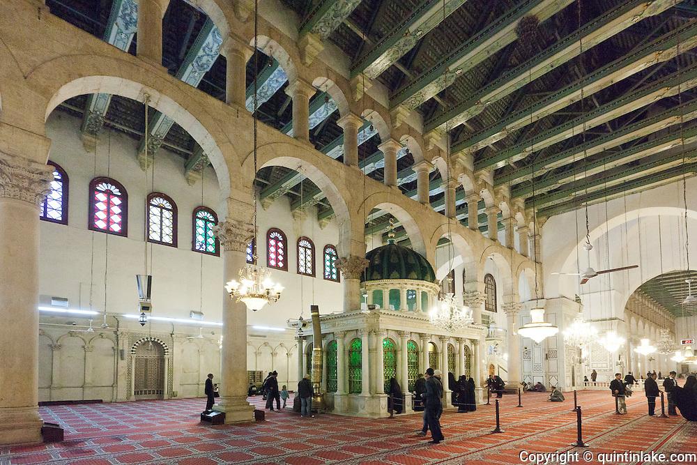 The shrine of John the Baptist (or Yahya) inside the prayer hall.  Umayyad Mosque, Damascus, Syria