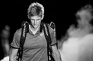 (Editors Note: - This image has been converted to black and white) Kevin Anderson of South Africa enters the arena during the Nitto ATP World Tour Finals at the O2 Arena, London, United Kingdom on 13 November 2018.Photo by Martin Cole