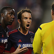 Mike Magee, (centre), Chicago Fire, reacts to officials after a penalty was awarded to the New York Red Bulls during the New York Red Bulls Vs Chicago Fire, Major League Soccer regular season match at Red Bull Arena, Harrison, New Jersey. USA. 10th May 2014. Photo Tim Clayton