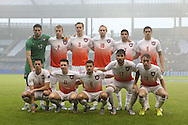 13 December 2015: Clemson's starters. Front row (from left): Oliver Shannon (ENG), Aaron Jones (ENG), Paul Clowes (ENG), Thales Moreno (BRA), Michael Melvin. Back row (from left): Andrew Tarbell, Kyle Fisher, Patrick Bunk-Andersen (DEN), T.J. Casner, Iman Mafi (NOR), and Diego Campos (CRC). The Clemson University Tigers played the Stanford University Cardinal at Sporting Park in Kansas City, Kansas in the 2015 NCAA Division I Men's College Cup championship match. Stanford won the game 4-0.