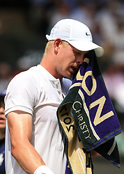 6 July 2017 -  Wimbledon Tennis (Day 4) - Kyle Edmund (GBR) wipes his face with a towel during his 2nd round match - Photo: Marc Atkins / Offside.