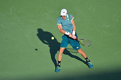 March 29, 2018 - Key Biscayne, FL, U.S. - KEY BISCAYNE, FL - MARCH 29: Kevin Anderson (RSA) in action during day 11 of the 2018 Miami Open held at the Crandon Park Tennis Center on March 29, 2018 in Key Biscayne, Florida.  (Photo by Andrew Patron/Icon Sportswire) (Credit Image: © Andrew Patron/Icon SMI via ZUMA Press)