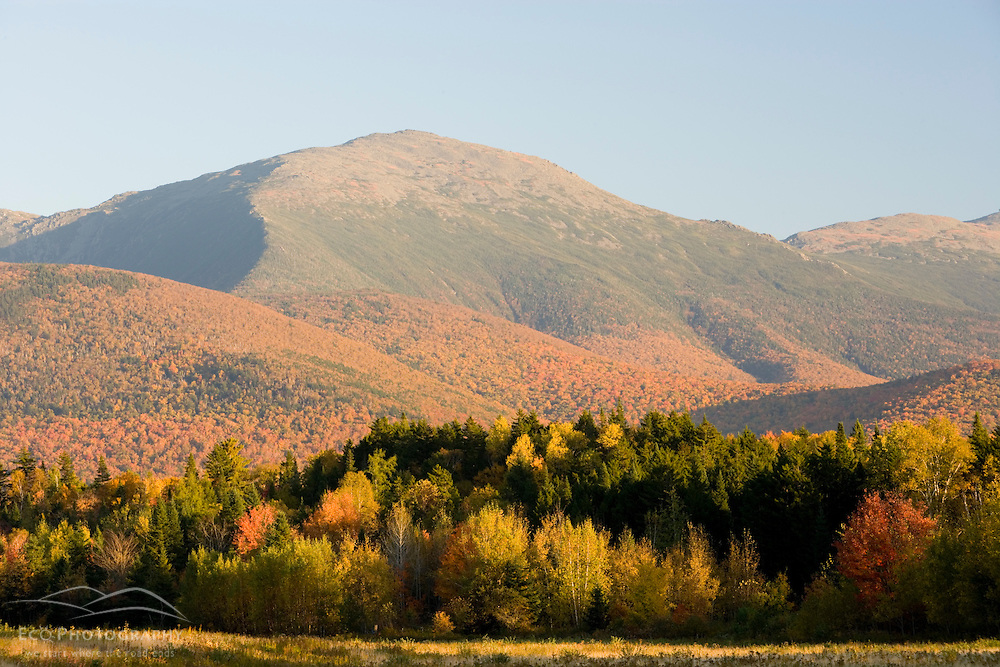 The Presidential Range in New Hampshire's White Mountains as seen from a field on Valley Road in Jefferson, NH.