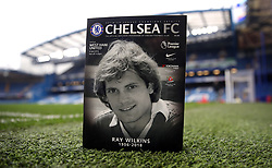 Chelsea programme with the late Ray Wilkins on the front cover prior to kick-off during the Premier League match at Stamford Bridge, London.