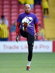 Watford goalkeeper Heurelho Gomes during the pre-match warm up
