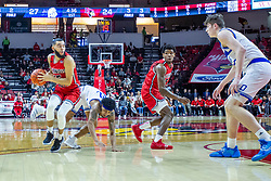 NORMAL, IL - February 22: defender Roman Penn slips while guarding Lijah Donnelly during a college basketball game between the ISU Redbirds and the Drake Bulldogs on February 22 2020 at Redbird Arena in Normal, IL. (Photo by Alan Look)