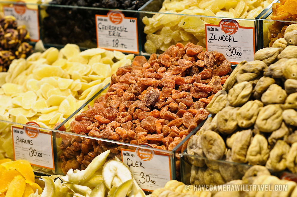 Containers of dried fruits at the Spice Bazaar (also known as the Egyption Bazaar) in Istanbul, Turkey.