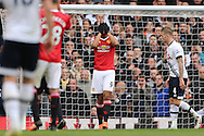 Anthony Martial of Manchester United reacts by covering his eyes after missing a chance to score. Barclays Premier league match, Tottenham Hotspur v Manchester Utd at White Hart Lane in London on Sunday 10th April 2016.<br /> pic by John Patrick Fletcher, Andrew Orchard sports photography.
