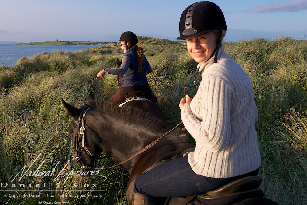 Tanya on a bore ride with Island View Riding Stables, Ireland.