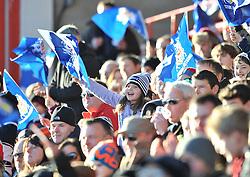 Bristol Rugby fan waves her flag - Photo mandatory by-line: Dougie Allward/JMP - Mobile: 07966 386802 - 18/01/2015 - SPORT - Rugby - Bristol - Ashton Gate - Bristol Rugby v Yorkshire Carnegie - Green King IPE Championship