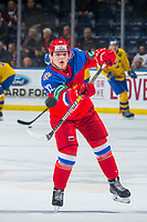 KELOWNA, BC - DECEMBER 18:  Vladislav Tcitciura #13 of Team Russia warms up with a shot on net against the Team Sweden at Prospera Place on December 18, 2018 in Kelowna, Canada. (Photo by Marissa Baecker/Getty Images)***Local Caption***