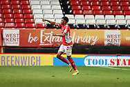 Charlton Athletic defender Jamie Mascoll (34) celebrating after scoring goal to make it 2-2 during the EFL Trophy match between Charlton Athletic and AFC Wimbledon at The Valley, London, England on 4 September 2018.